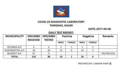 Photo of गुल्मीबाटै कोरोना परिक्षण सुरु: पहिलो दिन ३६ वटा नमुना परिक्षण गर्दा १६ जनाको रिपोर्ट पोजेटिभ